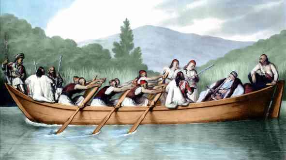 Πίνακας του Louis Dupré. Ο Αλή πασάς στη λίμνη των Ιωαννίνων. Οι στρατιώτες, αν κρίνουμε από το ξύρισμα των κροτάφων και την ενδυμασία τους, είναι πιθανότατα Σουλιώτες