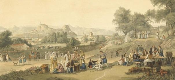 Κέρκυρα, Cartwright, 12 framed prints from Views in the Ionian Islands, 1821. Διακρίνονται κάποιοι Σουλιώτες πρόσφυγες