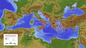 Στον αντίποδα των απόψεων αυτών που έχουν οι Δυτικοί, οι Τούρκοι υποστηρίζουν ότι όλοι οι αρχαίοι λαοί ήταν Τούρκοι και αυτοί δημιούργησαν τους πολιτισμούς της Μεσογείου, οι οποίοι επηρέασαν και τους Έλληνες. Επίσης οι σύγχρονοι Έλληνες δεν έχουν καμία σχέση με τους Αρχαίους Έλληνες.  Ελληνικές (κόκκινο) και φοινικικές (κίτρινο) αποικίες.